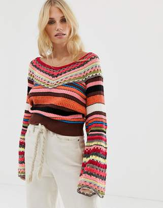 Free People Heart and Soul crochet multi stripe jumper-Brown