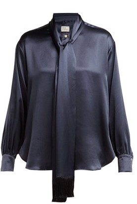 Hillier Bartley Tie-neck Silk-satin Blouse - Navy