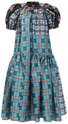 Chopova Lowena Gathered Upcycled Tartan-taffeta Dress - Multi