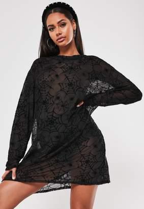 Missguided Black Spider Print Mesh T Shirt Dress