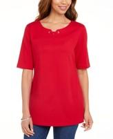 Karen Scott Cotton Split-Neck Elbow-Sleeve Top, Created for Macy's