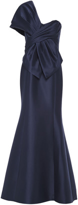 Badgley Mischka One-shoulder Bow-embellished Faille Gown