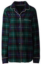 Lands' End Women's Petite Flannel Sleep Top-Rich Pine Plaid