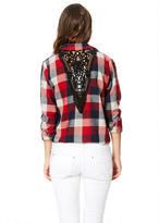 Delia's Oversized Lace-Back Flannel Button-Down Shirt
