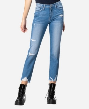 Flying Monkey High Rise Destroyed Hem Straight Crop Jeans
