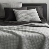 CB2 Grid Grey Cotton Jersey Full/Queen Quilt