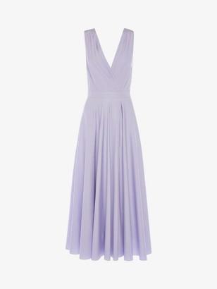 Alexander McQueen Cotton Poplin Drape Midi Dress