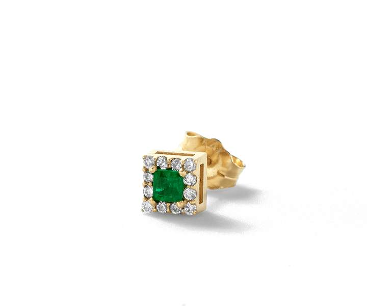 Alison Lou Emerald Single Stud Earring