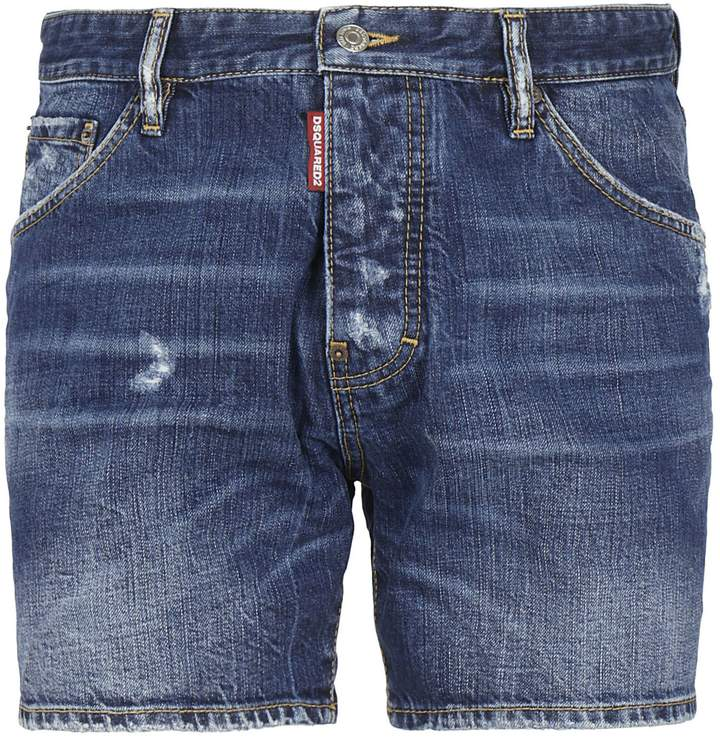 DSQUARED2 Semi-fade Effect Denim Shorts
