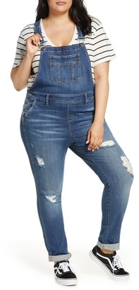 SLINK Jeans Distessed Denim Overalls