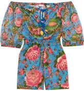 Anjuna Charlee Floral-print Cotton-voile Playsuit