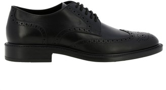Tod's Tods Brogue Shoes Tods Derby Shoes In Leather With Brogue Pattern And Rubber Bottom