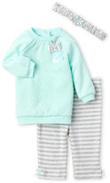 Little Me Newborn/Infant Girls) 3-Piece Heart Pullover & Stripe Pants Set