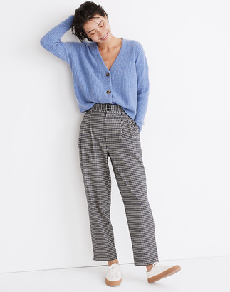 Madewell Pleated Taper Wide-Leg Pants in Houndstooth