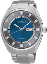 Seiko Recraft Mens Stainless Steel Blue Automatic Bracelet Watch
