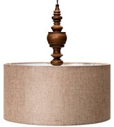 Mudhut Turned Plug-In Pendant Lamp with Natural Linen Shade (Includes CFL Bulb)