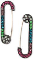 Betsey Johnson Betsey Johnston Hematite-Tone Rainbow Pavé Safety Pin Drop Earrings