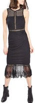 Topshop Women's Mesh & Lace Midi Dress