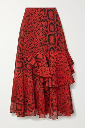 Preen by Thornton Bregazzi Delaney Ruffled Snake-print Devore Georgette Midi Skirt - Red