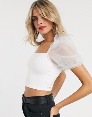 ASOS DESIGN scuba bandeau with organza sleeves in white