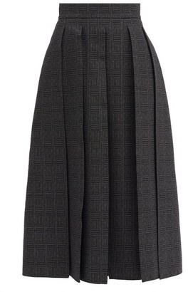 Fendi Pleated Checked-jacquard Wool Midi Skirt - Grey Print