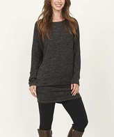 Egs By Eloges egs by eloges Women's Tunics BLACK - Black Marled Blouson Tunic - Women & Plus