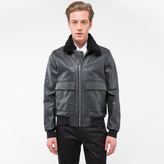 Paul Smith Men's Black Grained Leather Jacket With Detachable Collar Trim