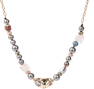 Alexis Bittar Stone Studded Crumpled Beaded Necklace