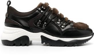 Peserico Faux-Fur Panel Chunky Sneakers