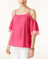 INC International Concepts Ruffled Cold-Shoulder Top, Created for Macy's