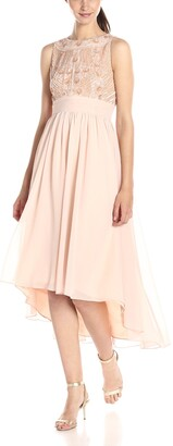 JS Collections Women's Sleeveless Gown with Beaded Bodice and High/Low Hem