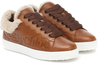 See by Chloe Essie leather and shearling sneakers