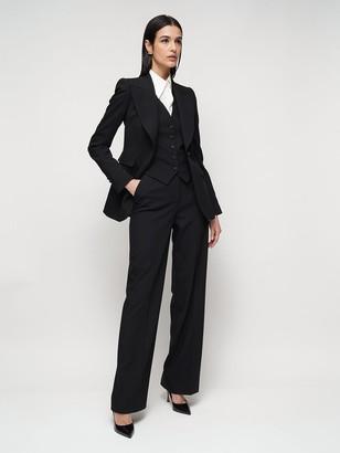 Dolce & Gabbana High Waist Stretch Wool Wide Leg Pants