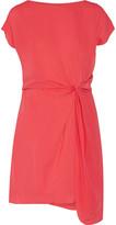 Halston Draped georgette mini dress