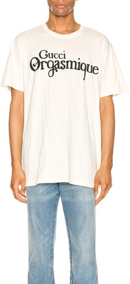 Gucci Graphic Tee in Natural & Black   FWRD