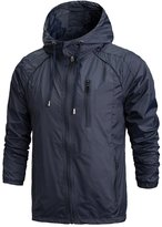 OCHENTA Men's Front-Zip Lightweight Hooded Rain Windbreaker Jacket Sapphire Blue Tag XL