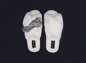 Laines London - Platinum Panther Slippers Cream - small