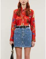 Sandro Graphic-print silk-satin shirt