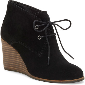 Lucky Brand Women's Casual boots BLACK - Black Shijo Suede Wedge Bootie - Women