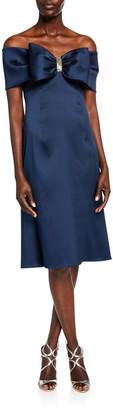 Rickie Freeman For Teri Jon Bow Front Off-the-Shoulder Stretch Gazar A-Line Dress