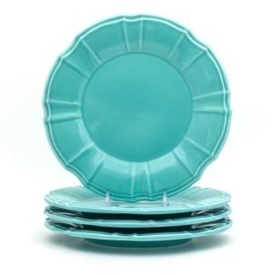 Chloé Euro Ceramica 4 Piece Turquoise Salad Plate Set