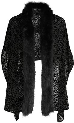 Adrienne Landau Leopard Burnout Velvet & Fox Fur Trim Stole