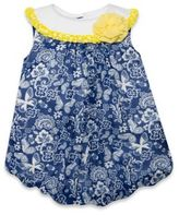 Baby Essentials Size 9M Sleeveless Paisley Floral Print Chiffon Bubble Romper in Navy/White