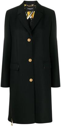 Versace Zip Accent Mid-Length Coat