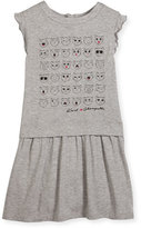 Karl Lagerfeld Faces of Choupette Jersey Dress, Gray, Size 6-10