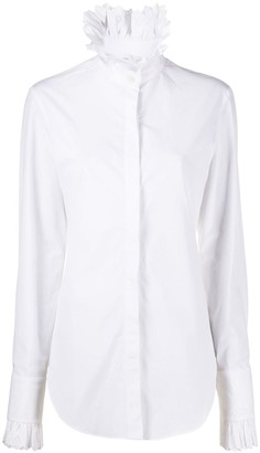 Paco Rabanne Lace-Trimmed Stand Collar Shirt