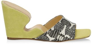 BY FAR Greta Snakeskin-Embossed Leather Wedge Mules