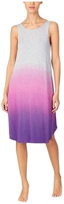 Donna Karan Modal Spandex Jersey 40 Sleeveless Gown (Grey Heather Dip-Dye) Women's Pajama