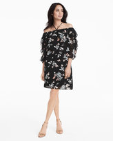 White House Black Market Off-The-Shoulder Print Flounce Dress
