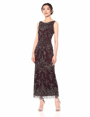 Pisarro Nights Women's Short Beaded Boat Neck Dress with Diamond Motif